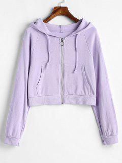 Zip Up Hooded Cropped Cardigan - Mauve M