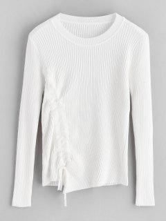 Ribbed Cinched Fitted Sweater - White