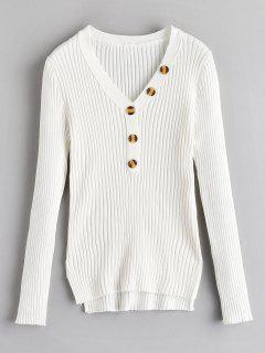 Button Embellished Ribbed High Low Sweater - White