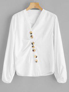 Lantern Sleeve Bluse Mit Knöpfen - Weiß Xl