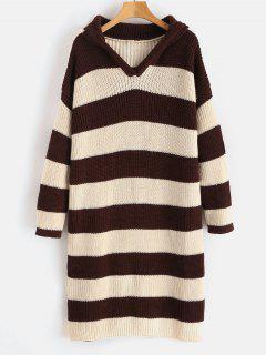 Hooded Striped Longline Sweater - Multi