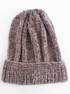 Winter Colormix Flanging Knitted Ski Cap - Gray