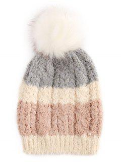 Winter Color Block Fuzzy Ball Ski Cap - Gray Cloud