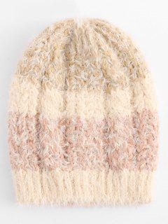 Color Block Knitted Winter Beanie - Camel Brown