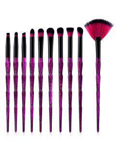 Beauty Purple Handles Synthetic Fiber Hair Eye Makeup Brush Set - Purple Flower Regular
