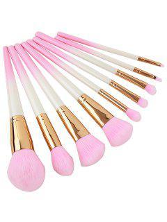 Cosmetic 10Pcs Pink Handles Ultra Soft Eyeshadow Blending Blush Powder Brush Suit - Light Pink