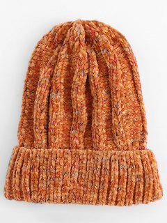 Winter Colormix Flanging Knitted Ski Cap - Orange