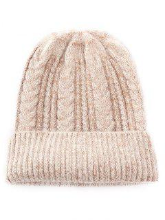 Winter Striped Flanging Knitted Cap - Tan