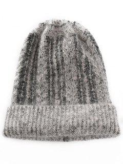 Winter Striped Flanging Knitted Cap - Smokey Gray