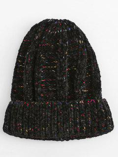 Winter Colormix Flanging Knitted Ski Cap - Black