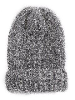 Striped Flanging Knitted Ski Cap - Gray