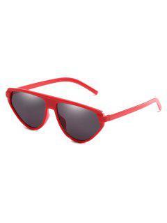 Lightweight Full Frame Flat Lens Catty Sunglasses - Red