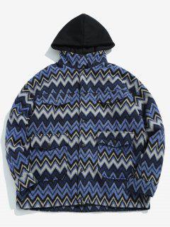 Wave Pattern Pocket Jacket - Blue 2xl