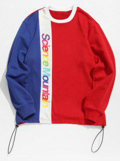 Contract Color Colorful Letters Printed Sweatshirt - Red L