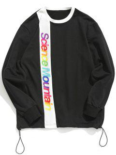 Contract Color Colorful Letters Printed Sweatshirt - Black M