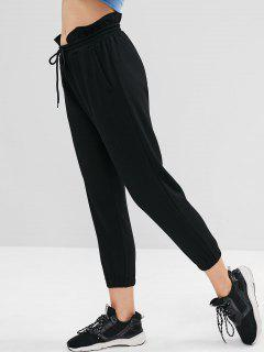 ZAFUL Ruffle High Waisted Jogger Pants - Black M