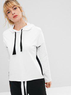ZAFUL Drawstring Drop Shoulder Sports Hoodie - White S