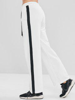 ZAFUL Contrast Drawstring Athletic Sweatpants - White L