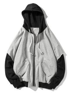 False Two Pieces Zipper Drawstring Letter Hoodie - Light Gray 2xl