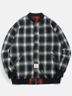 Checked Pattern Reversible Jacket - Black Xl