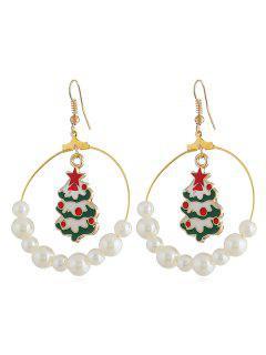 Weihnachtsbaum-Muster Mit Künstlichen Perlen Baumeln Ohrringe - Golden