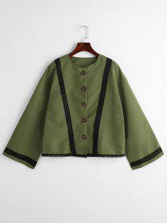 Spitzenbesatz Boxy Bell Sleeve Bluse - Armeegrün L
