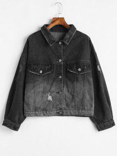 Drop Shoulder Ombre Denim Jacket - Black L