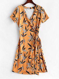 Short Printed Wrap Dress - Multi Xl