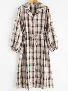 Plaid Long Sleeve Shirt Dress - Multi