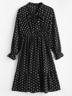 Long Sleeve Polka Dot Flounce Dress - Black