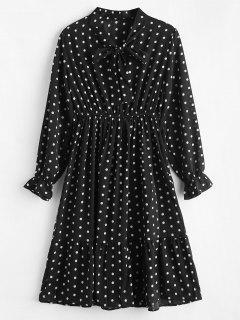 Long Sleeve Polka Dot Flounce Dress - Black
