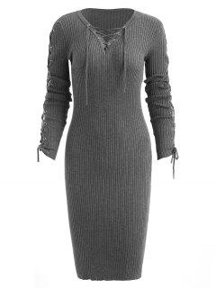 Lace-up Bodycon Sweater Dress - Gray