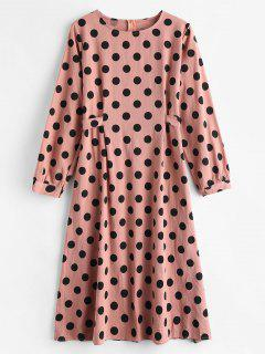 Langärmeliges Polka Dot Kleid - Flamingo Rosa