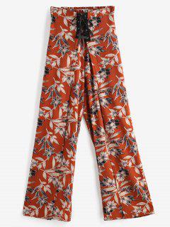 Pantalones Palazzo Con Cintura Fruncida Y Con Cordones Vegetales - Multicolor L