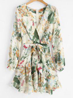 Ruffle Flower Surplice Dress - White M