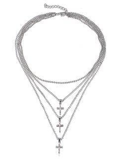 Sparkly Strass Kreuz Multi Schichten Kette Halskette - Silber