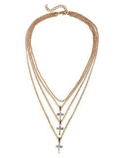 Sparkly Rhinestone Cross Multi Layers Chain Necklace - Gold