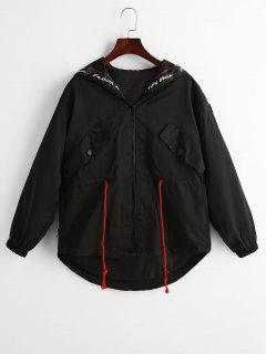 Letter Graphic Zip Up Hooded Jacket - Black Xl