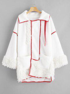 Manteau Tunique Droit Fourré Avec Poche - Blanc L