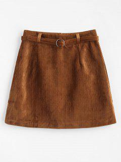 A Line Velvet Mini Skirt With Belt - Brown M