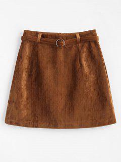 Una Mini Falda De Terciopelo De Línea Con Cinturón - Marrón L