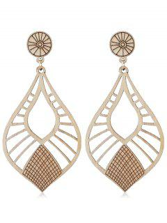 Hollow Out Wooden Drop Earrings - Burlywood