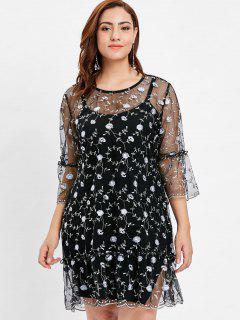 Vestido De Malla Bordada Floral Más El Tamaño - Negro 3x