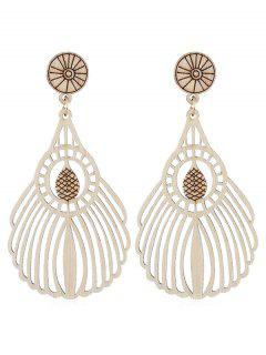 Bohemian Wooden Hollow Out Drop Earrings - Burlywood