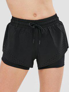 Hollow Out Overlay Sports Shorts - Black M