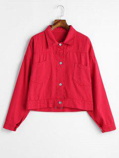 Patch-Tasche Lace Up Jeansjacke - Rot L