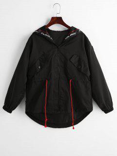 Letter Graphic Zip Up Hooded Jacket - Black M