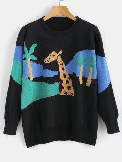 Color Block Giraffe Graphic Sweater - Black