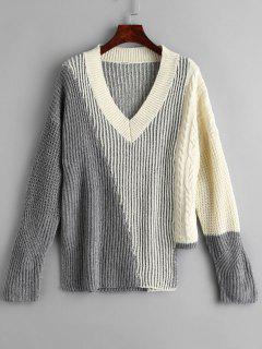 V Neck Mixed Knit Asymmetrical Jumper - Gray