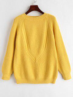 Raglan Sleeve Cable Knit V Neck Sweater - Mustard